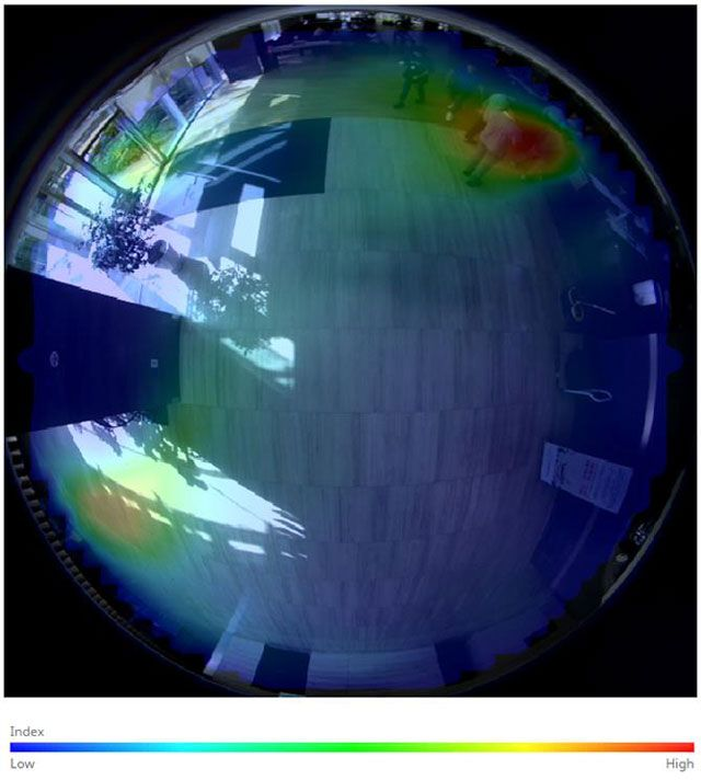 Пример тепловой карты, полученной с помощью камеры, имеющей объектив «рыбий глаз»