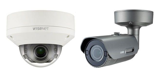 Цилиндрическая камера видеонаблюдения Wisenet PNO-9080R и купольная вандалостойкая Wisenet PNV-9080R